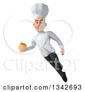 Clipart Of A 3d Young White Male Chef Holding A Navel Orange And Flying Royalty Free Illustration