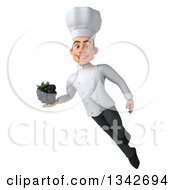 Clipart Of A 3d Young White Male Chef Holding A Blackberry And Flying Royalty Free Illustration