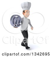 Clipart Of A 3d Young White Male Chef Holding An Email Arobase At Symbol And Walking Slightly To The Right Royalty Free Illustration