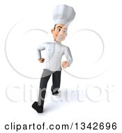 Clipart Of A 3d Young White Male Chef Speed Walking Royalty Free Illustration