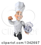 Clipart Of A 3d Young White Male Chef Holding A Dollar Currency Symbol And Flying Royalty Free Illustration
