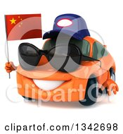 Clipart Of A 3d Orange Porsche Mechanic Car Wearing Sunglasses Facing Slightly Left Holding A Chinese Flag Royalty Free Illustration