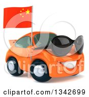 Clipart Of A 3d Orange Porsche Car Wearing Sunglasses Facing Slightly Right And Holding A Chinese Flag Royalty Free Illustration