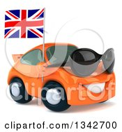 Clipart Of A 3d Orange Porsche Car Wearing Sunglasses Facing Slightly Right And Holding A British Flag Royalty Free Illustration by Julos