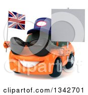 Clipart Of A 3d Orange Porsche Car Mechanic Wearing Sunglasses Facing Slightly Left Holding A Blank Sign And A British Flag Royalty Free Illustration by Julos