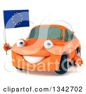 Clipart Of A 3d Orange Porsche Car Facing Slightly Left And Holding A European Flag Royalty Free Illustration by Julos