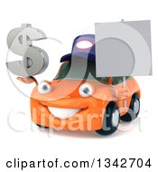 Clipart Of A 3d Orange Porsche Car Mechanic Facing Slightly Left Holding A Dollar Symbol And And Blank Sign Royalty Free Illustration by Julos