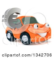 Clipart Of A 3d Orange Porsche Car Character Facing Right And Holding A Euro Symbol Royalty Free Illustration by Julos