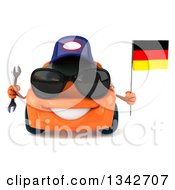 Clipart Of A 3d Orange Mechanic Porsche Car Wearing Sunglasses Holding A Wrench And A German Flag Royalty Free Illustration by Julos