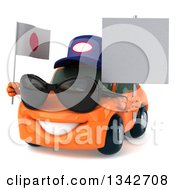 Clipart Of A 3d Orange Porsche Mechanic Car Wearing Sunglasses Facing Slightly Left Holding A Blank Sign And A Japanese Flag Royalty Free Illustration