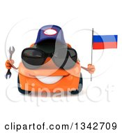 Clipart Of A 3d Orange Mechanic Porsche Car Wearing Sunglasses Holding A Wrench And A Russian Flag Royalty Free Illustration by Julos