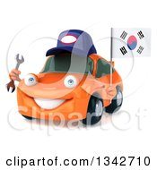 Clipart Of A 3d Happy Orange Porsche Car Mechanic Facing Slightly Left Holding A Wrench And South Korean Flag Royalty Free Illustration by Julos