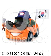 Clipart Of A 3d Happy Orange Porsche Car Mechanic Wearing Sunglasses Facing Slightly Left Holding A Wrench And South Korean Flag Royalty Free Illustration by Julos