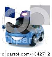 Clipart Of A 3d Blue Mechanic Porsche Car Facing Slightly Left Wearing Sunglasses Holding A Blank Sign And A European Flag Royalty Free Illustration by Julos