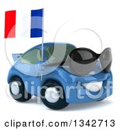 Clipart Of A 3d Blue Porsche Car Wearing Sunglasses Facing Slightly Right And Holding A French Flag Royalty Free Illustration by Julos