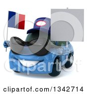 Clipart Of A 3d Blue Mechanic Porsche Car Wearing Sunglasses Facing Slightly Left Holding A Blank Sign And A French Flag Royalty Free Illustration by Julos