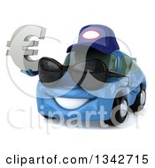 Clipart Of A 3d Blue Porsche Car Mechanic Facing Slightly Left Wearing Sunglasses And Holding A Euro Symbol Royalty Free Illustration