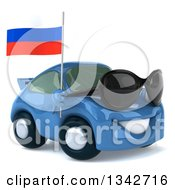 Clipart Of A 3d Blue Porsche Car Wearing Sunglasses Facing Slightly Right And Holding A Russian Flag Royalty Free Illustration by Julos