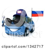 Clipart Of A 3d Blue Mechanic Porsche Car Wearing Sunglasses Facing Slightly Left Holding A Wrench And A Russian Flag Royalty Free Illustration by Julos