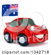 Clipart Of A 3d Red Porche Car Facing Slightly Right And Holding An Australia Flag Royalty Free Illustration by Julos