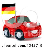 Clipart Of A 3d Red Porsche Car Facing Slightly Right And Holding A German Flag Royalty Free Illustration