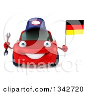 Clipart Of A 3d Red Mechanic Porsche Car Holding A Wrench And A German Flag Royalty Free Illustration by Julos