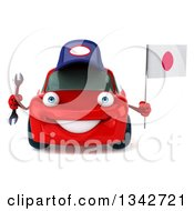 Clipart Of A 3d Red Porsche Mechanic Car Holding A Wrench And A Japanese Flag Royalty Free Illustration