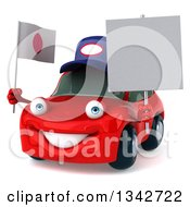 Clipart Of A 3d Red Porsche Mechanic Car Facing Slightly Left Holding A Blank Sign And A Japanese Flag Royalty Free Illustration