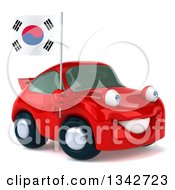 Clipart Of A 3d Happy Red Porsche Car Facing Slightly Right And Holding A South Korean Flag Royalty Free Illustration by Julos