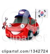 Clipart Of A 3d Happy Red Porsche Car Mechanic Facing Slightly Left Holding A Wrench And South Korean Flag Royalty Free Illustration by Julos