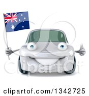 Clipart Of A 3d White Porche Car Giving A Thumb Up And Holding An Australia Flag Royalty Free Illustration