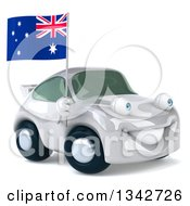 Clipart Of A 3d White Porche Car Facing Slightly Right Holding An Australia Flag Royalty Free Illustration