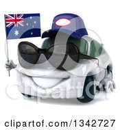 Clipart Of A 3d White Mechanic Porche Car Wearing Sunglasses Facing Slightly Left And Holding An Australia Flag Royalty Free Illustration