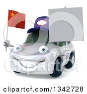 Clipart Of A 3d White Porsche Mechanic Car Facing Slightly Left Holding A Blank Sign And A Chinese Flag Royalty Free Illustration