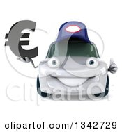 Clipart Of A 3d White Porsche Car Mechanic Giving A Thumb Up And Holding A Euro Symbol Royalty Free Illustration
