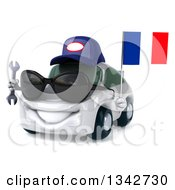 Clipart Of A 3d White Mechanic Porsche Car Wearing Sunglasses Facing Slightly Left Holding A Wrench And A French Flag Royalty Free Illustration