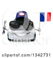 Clipart Of A 3d White Mechanic Porsche Car Wearing Sunglasses Holding A Wrench And A French Flag Royalty Free Illustration