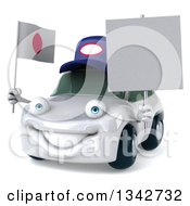 Clipart Of A 3d White Porsche Mechanic Car Facing Slightly Left Holding A Blank Sign And A Japanese Flag Royalty Free Illustration