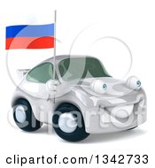 Clipart Of A 3d White Porsche Car Facing Slightly Right And Holding A Russian Flag Royalty Free Illustration by Julos