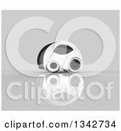 Clipart Of A 3d Futuristic Compact Self Driving Car On Gray 11 Royalty Free Illustration by Julos