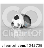 Clipart Of A 3d Futuristic Compact Self Driving Car On Gray 12 Royalty Free Illustration by Julos
