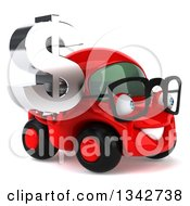 Clipart Of A 3d Bespectacled Red Compact Car Facing Righ And Holding A Chrome Dollar Symbol Royalty Free Illustration by Julos