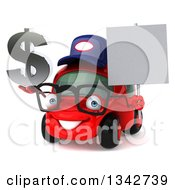 Clipart Of A 3d Bespectacled Red Compact Car Mechanic Holding A Chrome Dollar Symbol And Blank Sign Facing Slightly Left Royalty Free Illustration