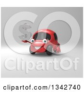 Clipart Of A 3d Red Compact Car Holding A Chrome Dollar Symbol Over Gray Royalty Free Illustration by Julos