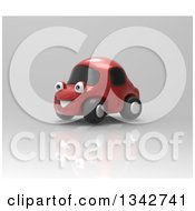 Clipart Of A 3d Happy Red Compact Car On Gray Royalty Free Illustration by Julos