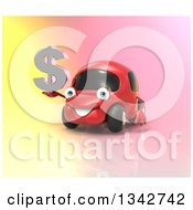 Clipart Of A 3d Red Compact Car Holding A Chrome Dollar Symbol Over Colors 2 Royalty Free Illustration by Julos