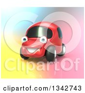 Clipart Of A 3d Happy Red Compact Car On Colors Royalty Free Illustration by Julos