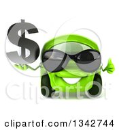 Clipart Of A 3d Green Compact Car Wearing Sunglasses Giving A Thumb Up And Holding A Dollar Symbol Royalty Free Illustration