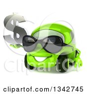 Clipart Of A 3d Green Compact Car Wearing Sunglasses Facing Slightly Left And Holding A Dollar Symbol Royalty Free Illustration