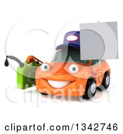 Clipart Of A 3d Orange Mechanic Car Facing Slightly Left Holding A Gas Can And Blank Sign Royalty Free Illustration